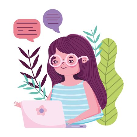 stay at home, young woman with laptop chatting quarantine prevention vector illustration covid 19
