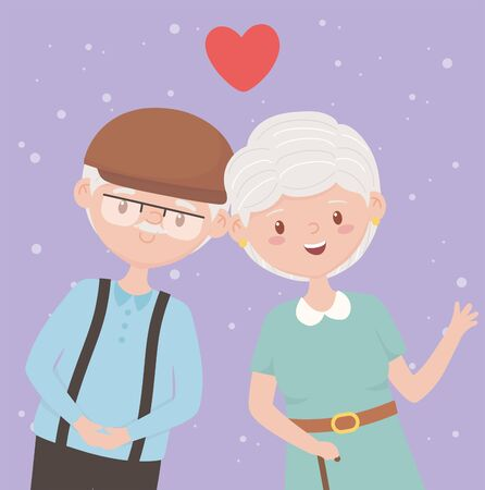 old people, happy grandparents, mature couple love cartoon characters vector illustration