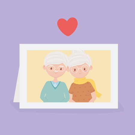 old people, cute couple grandparents in photo frame vector illustration Banque d'images - 143745518