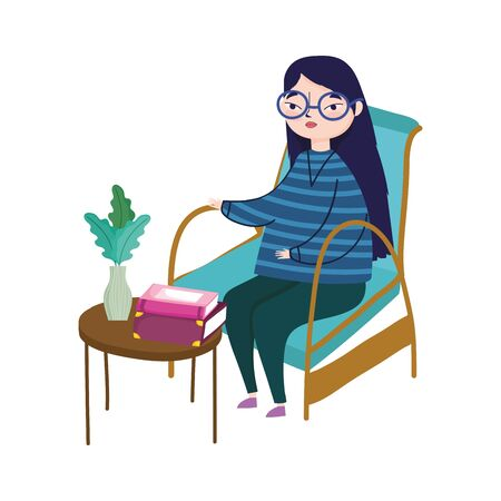 young woman sitting in chair table with books plants in vase decoration vector illustration, book day Vektorové ilustrace
