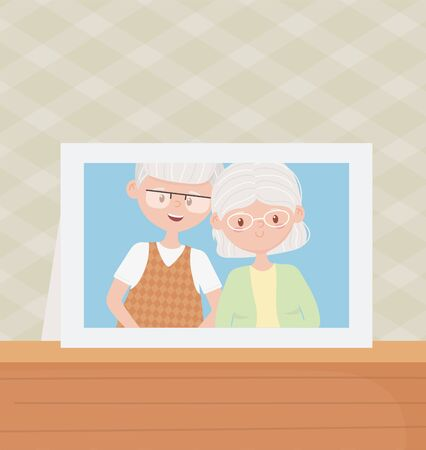 old people, cute couple grandparents photo frame in table vector illustration Banque d'images - 143745979