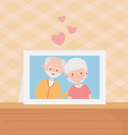 old people, cute couple grandparents photo frame in table vector illustration Banque d'images - 143745985