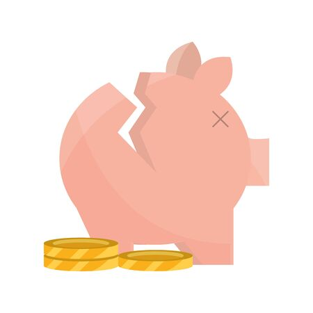 broken piggy bank and coin money stock market crash vector illustration isolated icon