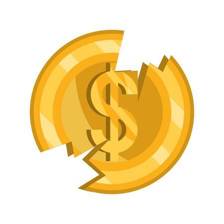 broken coin money stock market crash vector illustration isolated icon