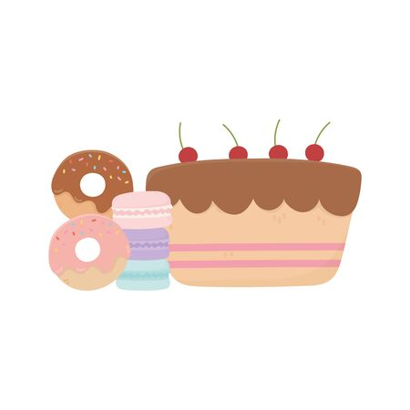 happy day, sweet cake donuts macaroons and candies