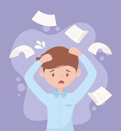 stressed employee with hands in head paperwork falling vector illustration 向量圖像