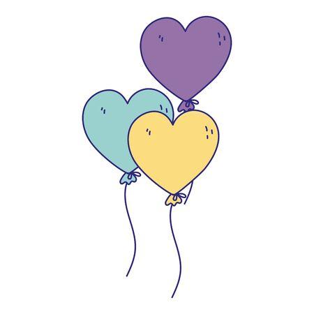 happy birthday, balloons shaped hearts decoration celebration party isolation design icon vector illustration
