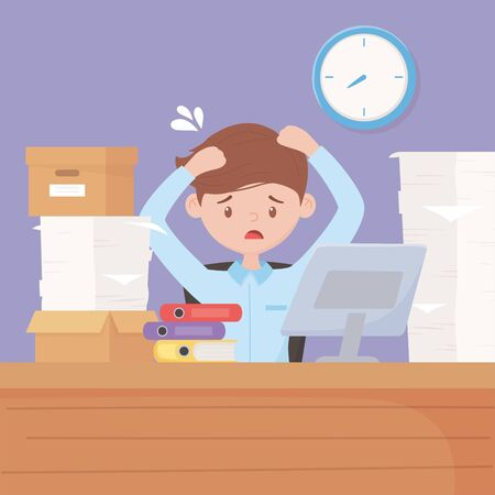stressed businessman in desk with computer boxes binders and paper stacked clock in wall vector illustration
