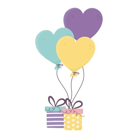 happy day, gift balloons shaped hearts decoration celebration vector illustration Ilustração