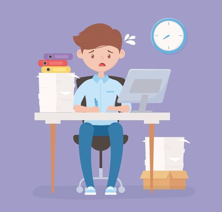 worried employee in desk office with computer pile of papers and clock stress vector illustration Illustration