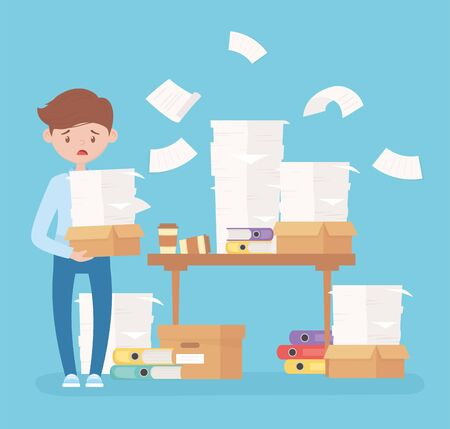 worried employee carrying stack papers desk with sheets binders office frustration stress vector illustration