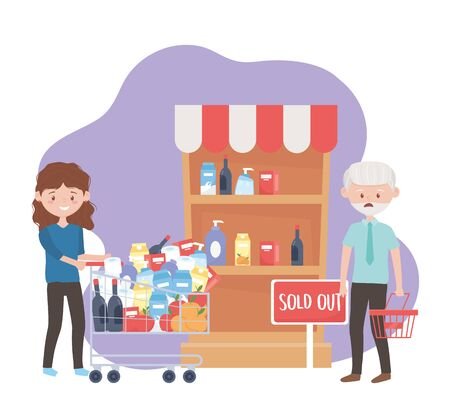 happy woman with full cart and worried man with empty basket sold out excess purchase vector illustration