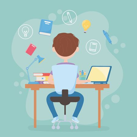 education online student boy sitting back view in desk studying with computer vector illustration