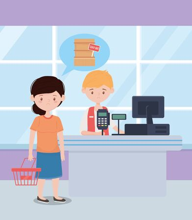 seller guy and sad customer with empty basket and sold out shelf supermarket excess purchase vector illustration
