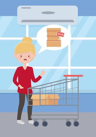 sad woman with empty shopping cart and box , sold out shelf supermarket, excess purchase