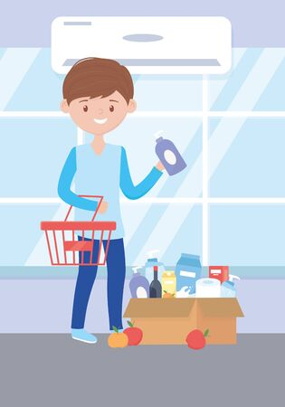 young man with food and products for cleaning in box excess purchase