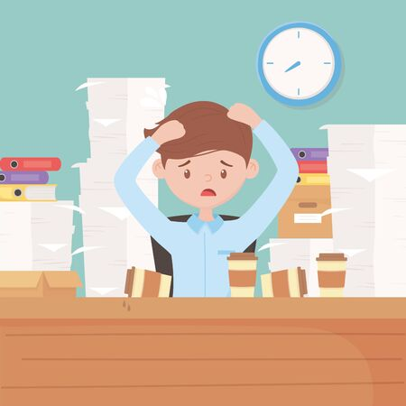 employee with hands in head worried stressed office with coffee cups many papers vector illustration