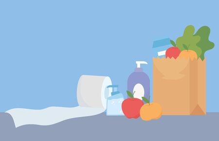 purchase paper bag with fruits food and toilet paper and bottle soap, shopping excess Ilustración de vector