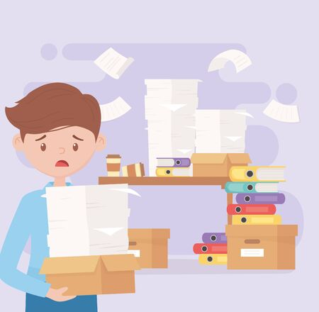 stressed employee with box and papers in the office work frustration