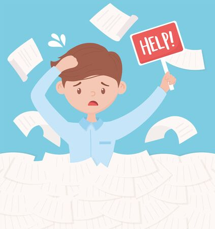stressed businessman papers and documents with help sign