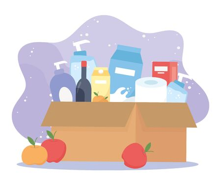 full cardboard box with wine, food toilet paper cleaning products, excess purchase Vecteurs