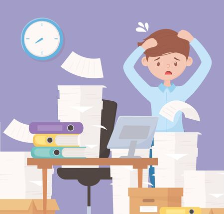 stressed businessman in office work with pile paper boxes in desk