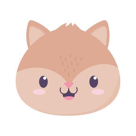 cute squirrel face animal cartoon isolated icon vector illustration