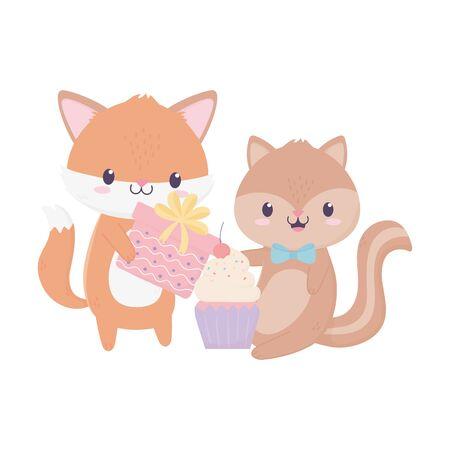 happy birthday fox squirrel gift cupcake bunting flags celebration decoration card vector illustration