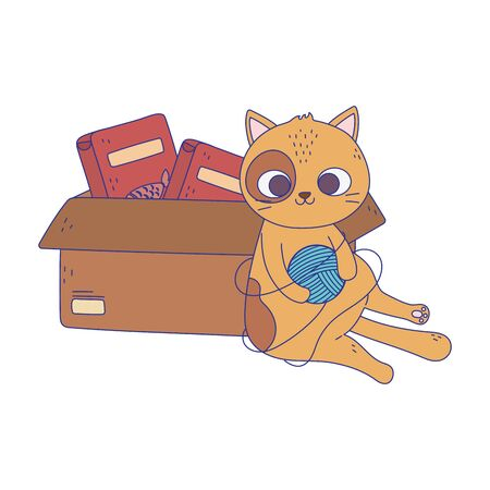 cats make me happy, cat playing ball of wool and box with food
