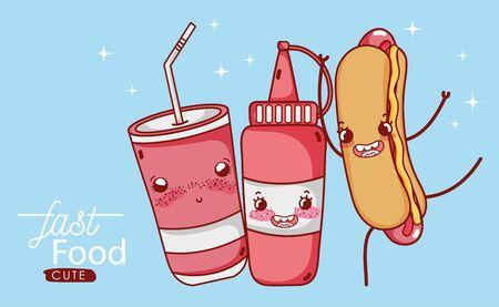 fast food cute hot dog sauce and plastic cup soda cartoon