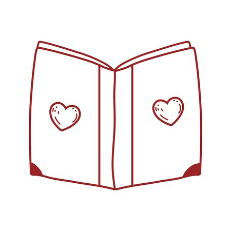 book day, cover with hearts textbook isolated icon design vector illustration line style