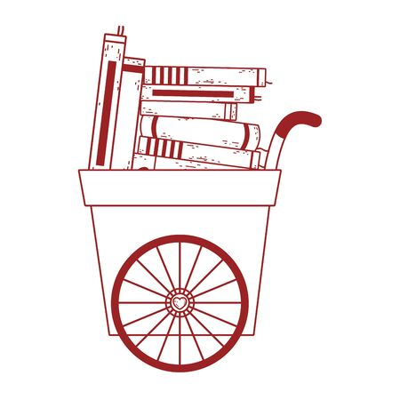 book day, handcart with many books literature isolated icon vector illustration line style