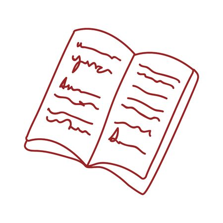 book day, textbook with manuscript pages isolated icon design line style