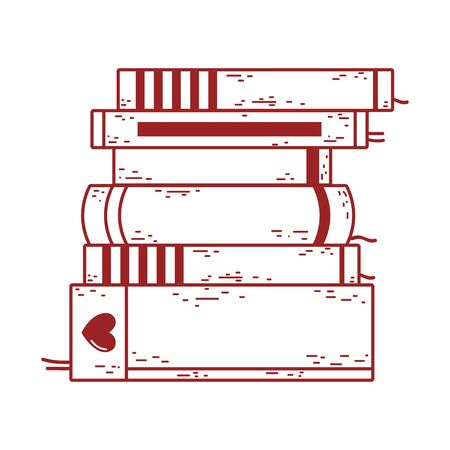 book day, textbook stacked different literature isolated icon design vector illustration line style