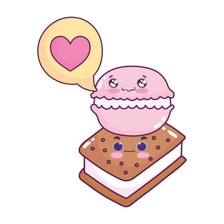 cute food ice cream macaroon love heart sweet dessert pastry cartoon isolated design