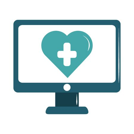 online doctor computer medical technology care flat style icon  イラスト・ベクター素材