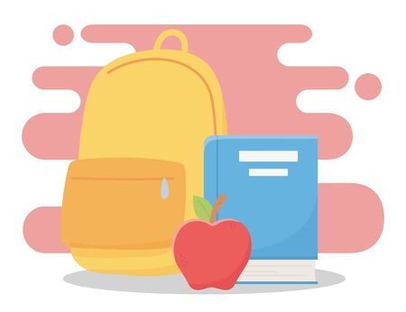 online education, backpack book and apple school vector illustration