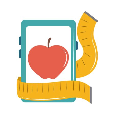 online doctor smartphone nutrition loss weight care flat style icon vector illustration