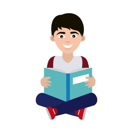 teen with open book sitting reading home education flat style icon