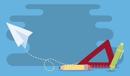 education online, ruler pencil pen paper plane creativity image