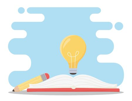 education online, light bulb on book and pencil