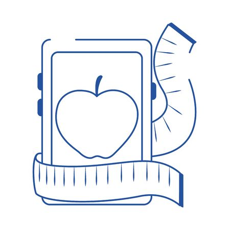 online doctor smartphone nutrition care blue line style icon 向量圖像