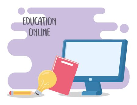 online education, computer book pencil and light bulb