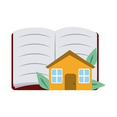 open book and house home education flat style icon 向量圖像
