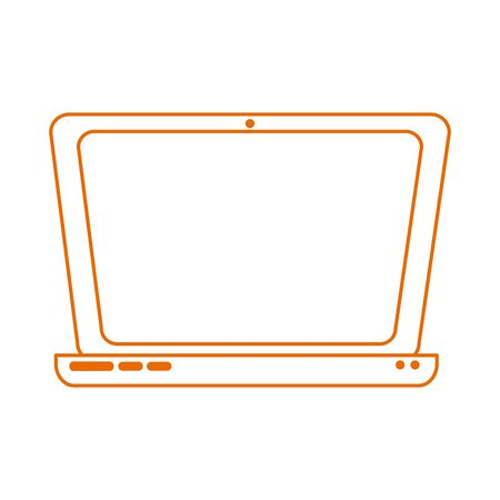 laptop computer technology virtual home education line color style icon  イラスト・ベクター素材