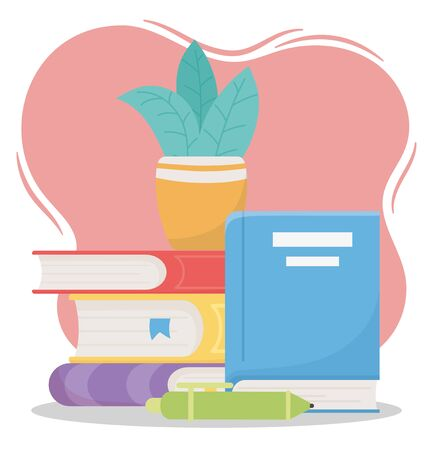 online education, pen and plant on books school vector illustration