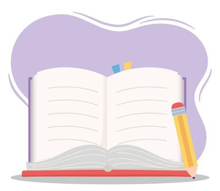 online education, open book and pencil utensils school vector illustration Illustration