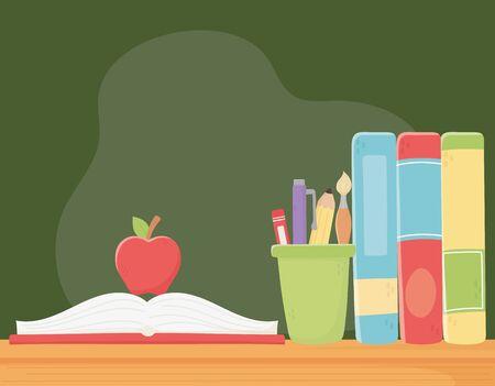 online education, apple on open book and books on desk Illustration