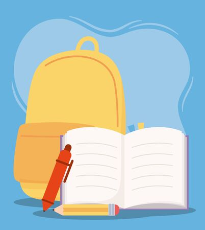 online education, backpack pencil pen and book supplies