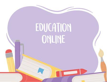 online education, books crayon pen pencil 向量圖像